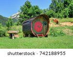 wooden  tiny home on wheels in... | Shutterstock . vector #742188955