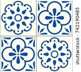 azulejos portuguese vector... | Shutterstock .eps vector #742190485