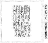 vector trendy alphabet in... | Shutterstock .eps vector #742191592