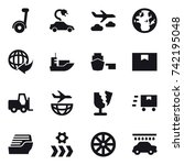 16 vector icon set   electric... | Shutterstock .eps vector #742195048