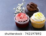 different capcakes with... | Shutterstock . vector #742197892
