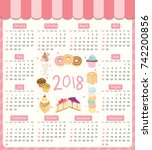 2018 twelve month calendar...   Shutterstock .eps vector #742200856