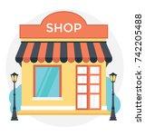 shop vector icon  | Shutterstock .eps vector #742205488