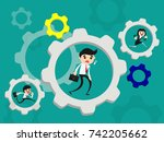 businessman tired to running in ... | Shutterstock .eps vector #742205662