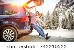 winter car trip and two lovers  | Shutterstock . vector #742210522