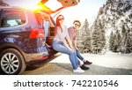 winter car trip and two lovers    Shutterstock . vector #742210546