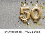 number 50 gold celebration... | Shutterstock . vector #742211485