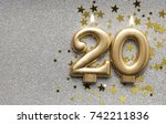 number 20 gold celebration... | Shutterstock . vector #742211836