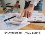 businessman analyzing... | Shutterstock . vector #742216846