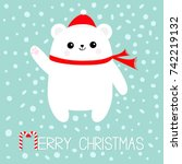 merry christmas candy cane text.... | Shutterstock .eps vector #742219132