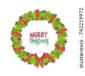 cartoon christmas wreath on a... | Shutterstock .eps vector #742219972