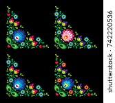 corners border polish floral... | Shutterstock .eps vector #742220536