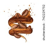 coffee beans moves in a coffee... | Shutterstock . vector #742229752