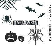 halloween vector icon set | Shutterstock .eps vector #742243762