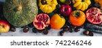 top view of an autumnal...   Shutterstock . vector #742246246