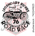 vintage motorcycle t shirt... | Shutterstock .eps vector #742249825