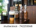 ice cappucino coffee in ... | Shutterstock . vector #742253068