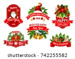 merry christmas and happy new... | Shutterstock .eps vector #742255582