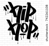 hip hop tag graffiti style... | Shutterstock .eps vector #742261108