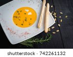 cream soup from lentils on... | Shutterstock . vector #742261132
