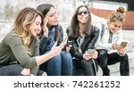 four girl friends happy... | Shutterstock . vector #742261252