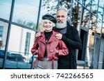 portrait of fashionable senior... | Shutterstock . vector #742266565