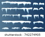 set of snow icicles  snow cap... | Shutterstock .eps vector #742274905
