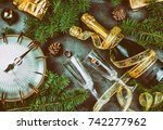 new year eve tradition rutual... | Shutterstock . vector #742277962