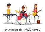 rock music poster. old school... | Shutterstock .eps vector #742278952