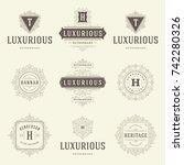 luxury logos templates set ... | Shutterstock .eps vector #742280326