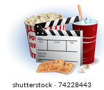 soda  filmstrip and tickets | Shutterstock .eps vector #74228443