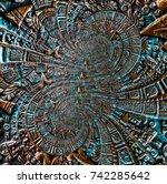 bronze ancient antique... | Shutterstock . vector #742285642
