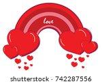 red heart rainbow. valentine's... | Shutterstock .eps vector #742287556