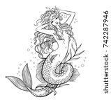 pretty mermaid. hand drawn... | Shutterstock .eps vector #742287946