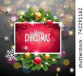 merry christmas illustration... | Shutterstock . vector #742291162