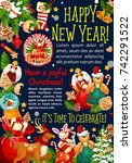 happy new year or christmas...   Shutterstock .eps vector #742291522