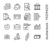 set of banking thin line icons. ... | Shutterstock .eps vector #742294255