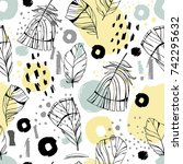 seamless pattern with hand...   Shutterstock .eps vector #742295632