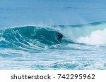 bodyboarder surfing ocean wave... | Shutterstock . vector #742295962