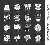 christmas season sale white... | Shutterstock .eps vector #742297696