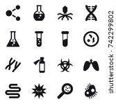 16 vector icon set   molecule ...   Shutterstock .eps vector #742299802