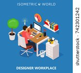 colored 3d isometric freelance... | Shutterstock . vector #742301242