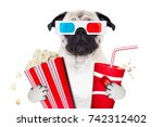 pug dog watching a movie in a... | Shutterstock . vector #742312402