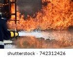 firemen  fireman in action... | Shutterstock . vector #742312426