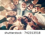 group of people in circle .... | Shutterstock . vector #742313518
