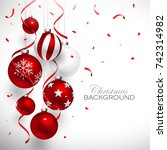 christmas balls of red color... | Shutterstock .eps vector #742314982