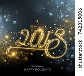 new year fireworks and confetti ... | Shutterstock .eps vector #742315006