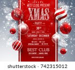 christmas party design template.... | Shutterstock .eps vector #742315012