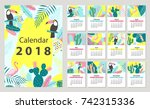 calendar 2018 starting from... | Shutterstock .eps vector #742315336