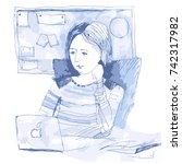 woman working in office. girl... | Shutterstock .eps vector #742317982